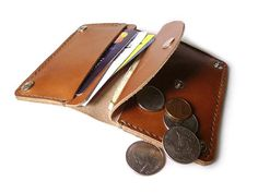 Handmade Leather Wallet Mini Wallet Case Bank от LeatherPurses, $33.00