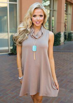 Boutique, Online Boutique, Women's Boutique, Modern Vintage Boutique, Dress, Mocha Dress, Tank Dress, Cowl Neck Dress, Cute, Fashion