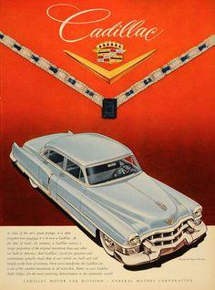 1953 Ad Blue Vintage Cadillac Harry Winston Jewel Crest - ORIGINAL ADVERTISING #vintagecadillac #cadillac