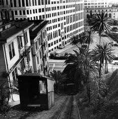 Court Flight was once another funicular situated a couple of blocks north of Angels Flight. Photo taken by Ansel Adams in 1940. To the left is the Hotel Broadway at 205 S. Broadway. (LAPL 00085773) Bizarre Los Angeles