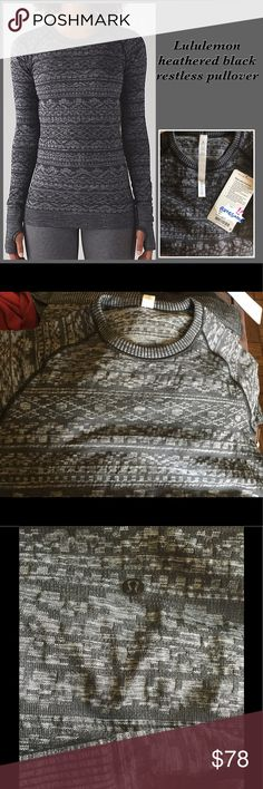 Lululemon restless pullover Heathered black recent release in fair isle style NWT size 4. No longer made super soft and cozy lululemon athletica Sweaters