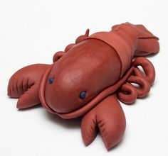 Large fondant lobster cake topper by SeasonablyAdorned on Etsy