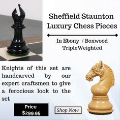 Sheffield Series of Luxury Chessmen are masterfully handcrafted using exotic ebony wood and boxwood. Apart from the traditional staunton inspired pieces, unique carving work at the base of the chess pieces makes this design a must have in a chess player/ collectors' collection. #chessgames #playchess #chesstime #art #catur #chesspieces #gameofchess #boardgames #chessnews #chessbase #chesslovers #chessman #puzzle #chessrush #chessqueen #checs #chess #chessplayer #chessgame #chessmoves Chess Moves, Wood Chess Board, Chess Players, Chess Pieces, Sheffield, Board Games, Mall, Hand Carved