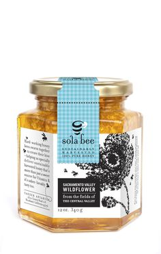 Sola Bee Farms Honey Packaging by Jenn Berney, via Behance