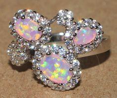 pink fire opal Cz ring Gemstone silver jewelry Sz 7.5 modern cocktail style TSS