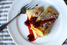 cheese blintz with loose strawberry jam by smitten, via Flickr