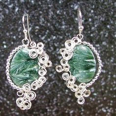 Scroll work boho earrings, sterling and seraphinite