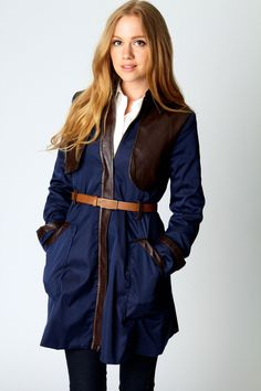 Hayley PU Trim Storm Flap Belted Trench Coat Mac