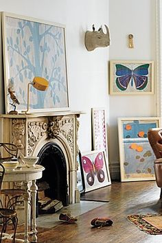 living room: living room with colorful art