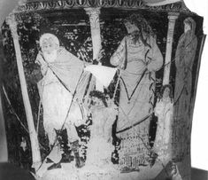 In his search to determine who killed Laius (and thus end a plague on Thebes), Oedipus discovered it was he who had killed the late king Laios (his father). Here the sear Tiresias reveals that in fact it was Oedipus himself who had (unwittingly) committed the crime.Jocasta and their children stand near shocked by revelation.