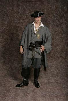 $30.00 Costume Rental  Pirate #4  gray plaid vest, gray plaid jacket, blue shirt, blue striped sash, knickers