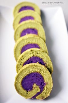 green tea matcha souffle roll cake with purple sweet potato paste