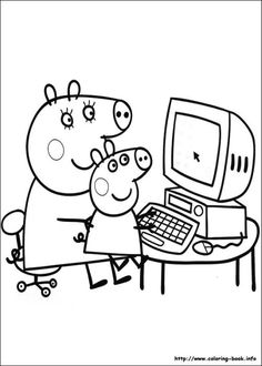 Printable Peppa Pig Coloring Pages. Have a Joy with Peppa Pig Coloring Pages. Do your children like to color pictures? If they do, the Peppa pig coloring pages Online Coloring Pages, Cool Coloring Pages, Coloring Pages To Print, Free Printable Coloring Pages, Adult Coloring Pages, Coloring Pages For Kids, Coloring Books, Coloring Sheets, Kids Coloring