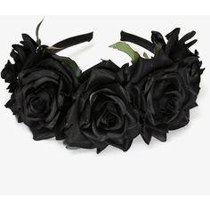 Nyx Flower Crown (500 ARS) ❤ liked on Polyvore featuring accessories, hair accessories, hair, black, headbands, headpieces, hair band accessories, fake garland, flower crown and rose hair accessories