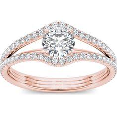 De Couer 14k Rose Gold 1 1/4ct TDW Diamond Ring (H-I, I2) (Size- 8.5), Women's, Pink