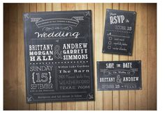 Chalkboard Style Wedding Invitation SET, with Save The Dates & RSVP Cards, PRINTABLE Invitations, modern chalk board invite.