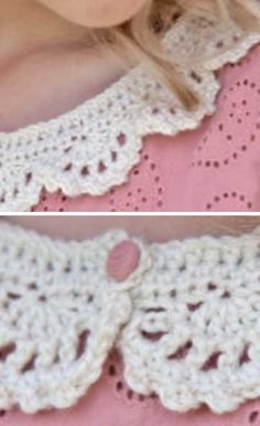 Free Crochet Pattern for a Lace Collar Blouse Pattern Free, Crochet Collar Pattern, Crochet Lace Collar, Crochet Jumper, Crochet Cross, Lace Knitting, Diy Crochet, Crochet Blouse, Blouse Patterns