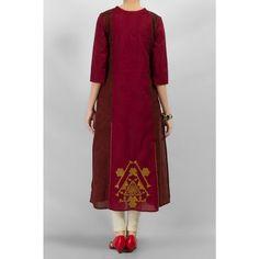 Dar Red Cotton Kurti by Kurti PakRobe.com