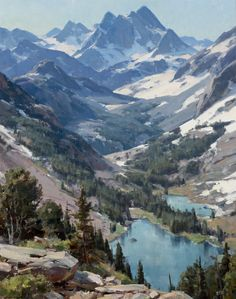Jackson Hole Art Auction: Lot Clyde Aspevig High Country Lakes oil on canvas 40 x 32 in SOLD Mountain Paintings, Nature Paintings, Beautiful Paintings, Beautiful Landscapes, Landscape Paintings, Digital Paintings, Indian Paintings, Mountain Art, Mountain Landscape