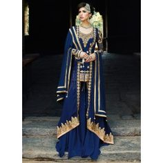 Fashionable Blue and Gold A Line Palazzo