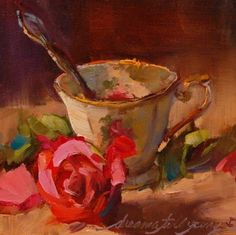 The Last Tango, painting by artist Dreama Tolle Perry by kari Painting Still Life, Still Life Art, Great Paintings, Tea Art, Art Oil, Love Art, Painting Inspiration, Art Images, Painting & Drawing