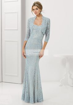 2015 Elegant Silver Mother Of The Bride Dresses With Jacket  Lace Evening Long Gowns For Women