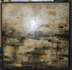 LOVELY ABSTRACT OIL PAINTING ON LINEN IN A SHINY GOLD-COLORED ...