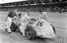 Billy Devore's car prepares for the 1939 Indianapolis 500.  Started 33rd, finished 10th.  photo by Alfred Eisenstaedt  LIFE archives