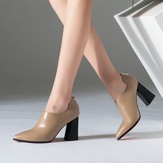2017 Wholesale Winter Pointed Toe Sexy Ladies Block High Heel Ankle Short Boots Women Shoes