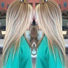 Haircut longue ligne droite avec Layers - BALAYAGE Faits saillants avec Brown, Blonde