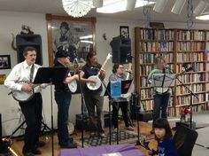 """A bevy of banjo players performing at the coffee house. The """"Banjo Extravaganza"""" was part of the March 29 edition of Tom's Guitar. It was broadcast live from the coffee house.on local TV Banjo, Guitar, Live Tv, March, Coffee, House, Kaffee, Home, Cup Of Coffee"""
