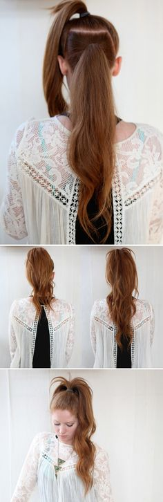 Why did I never think of this?! One high, and one low pony tail and it actually shows off your long hair! Actually tried this and for me, doing three instead of two helps elminate the two separate layers look.
