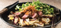 I'm cooking Pan-Seared Sirloin Steak with Green Chef https://greenchef.com/recipes/paleo-pan-seared-steak-crispy-shallots-roasted-root-vegetables-and-arugula