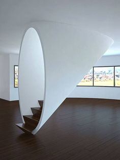 White tubular staircase I would love this going into the basement of my home.