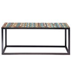 Mesa baja de metal y madera de colores An. 100 cm Bahia