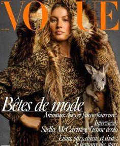 """Gisele Bündchen bajo el título """"Bestias de la moda"""", en una icónica campaña fotográfica para la edición de agosto de Vogue París"""