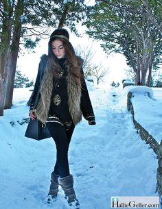 Faux fur vest, knit sweater, cotton tights, slouch boots, headband