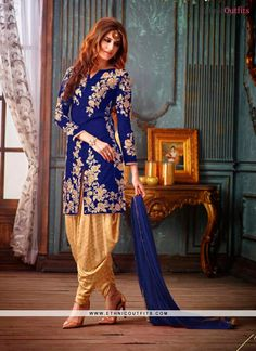 Enchanting Blue Embroidered Work Designer Suit Email - support@ethnicoutfits.com Call/What's app - +918141377746