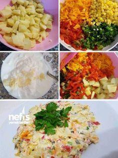Efsane Salata Malzemeler 4-5 adet orta boy patates 5 adet konserve kırmızı köz biber 1 çay bardağı mısır 5-6 kornişon salatalık 3, 4 dal taze nane 2 da... - f. özbağ - Google+