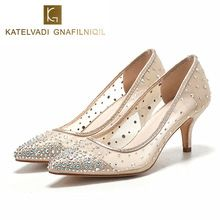 detailed look 0d917 898d7 New Women Pumps High Heels Women Shoes Sexy Rhinestone Shoes Woman Pointed  Toe Heels Crystal Wedding