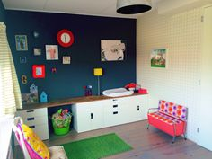 Kid's room - Ikea Stuva storage with teak topping.