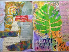 Altered book with Gelli prints This is one of the pages of my latest altered book.  I layered the pages with Gelli prints and other papers, and it's ready for some art jounaling, to which I'm totally addicted.