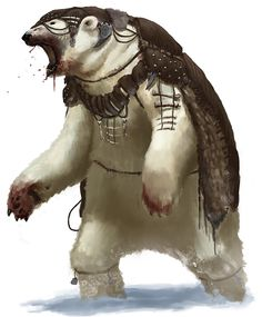 Tribal Polar Bear by thomaswievegg on DeviantArt Bear Character, Character Design, Dnd Characters, Fantasy Characters, Beorn Hobbit, Creature Picture, His Dark Materials, Bear Art, Creature Concept