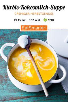 Kürbis-Kokosmilch-Suppe Quick pumpkin soup: Pumpkin and coconut milk soup – smarter – calories: 152 kcal – time: 15 min. Vegetable Soup Healthy, Vegetable Puree, Vegetable Drinks, Healthy Soup, Pumpkin Soup, Pumpkin Recipes, Soup Recipes, Healthy Eating Tips, Clean Eating Recipes
