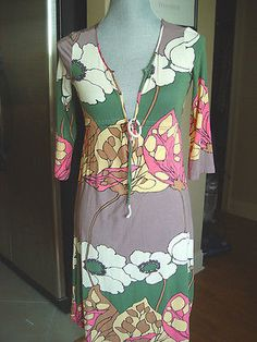 New Sweetees Dress Size XS green ibory brown pink floral qtr sleeve empire