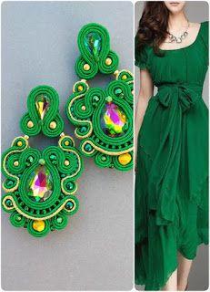 1d23aa08d965 El Rinconcito de Zivi  Pendientes Verde dorado Largos Soutache