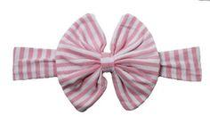 Pink & White Stripe Fabric Big Bow Turban Headwrap Headband-Newborn Picture-Photo -Cake Smash-Toddler Headband-baby headband-infant headband by CutiePieParade on Etsy