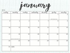 Cute Printable Calendars  Monthly Free  January  Calendar