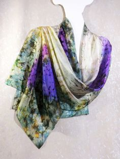 Silk scarf hand painted Scarf silk watercolor by WhisperOfSilk