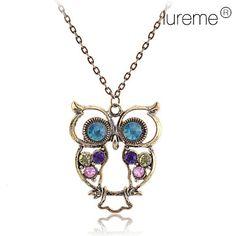 Antique+Copper+Alloy+Zircon+Owl+Pattern+Necklace+–+AUD+$+1.99
